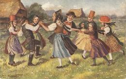 """People Dancing. Ringelreihen"" Nice Antique German Postcard. Artist Drawn - Bailes"