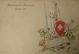 Suisse (LU) Prage - Embossed Luzern Eidgenossisches Schutzenfest 1901 - LU Lucerne