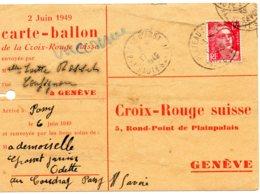 """FRANCE.1949.CARTE-BALLON Pour La SUISSE."""" CROIX-ROUGE"""". - Montgolfières"""
