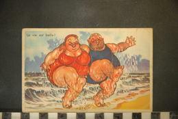 CP,  Illustrateurs, Humour, Homme Et Femme Obèses à La Plage , La Vie Est Belle ! - Illustrateurs & Photographes