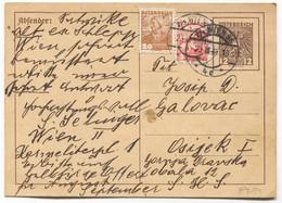 Wien Austria 1935. Postal Stationery, Traveled For Osijek Croatia - Stamped Stationery