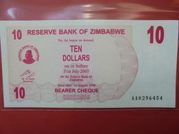 ZIMBABWE 10$ 2006 (BEARER CHEQUE) PEU CIRCULER/NEUF - Zimbabwe