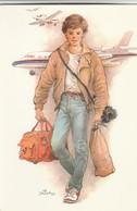 CARTE POSTALE    ILLUSTRATEUR JEUNE HOMME  AVION CARTE SIGNEE   AVIONS  520 - Otros Ilustradores