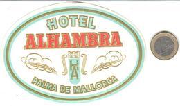 ETIQUETA DE HOTEL  - HOTEL ALHAMBRA,  -PALMA DE MALLORCA -ISLAS BALEARES - Hotel Labels
