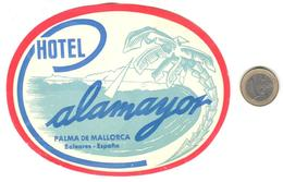 ETIQUETA DE HOTEL  - HOTEL ALAMAYOR  -PALMA DE MALLORCA -ISLAS BALEARES - Hotel Labels