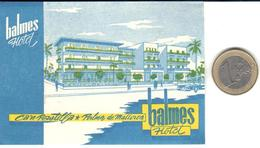 ETIQUETA DE HOTEL  - HOTEL BALMES -PALMA DE MALLORCA -ISLAS BALEARES - Hotel Labels