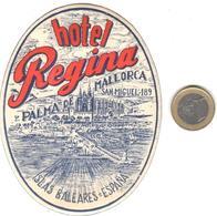 ETIQUETA DE HOTEL  - HOTEL REGINA -PALMA DE MALLORCA -ISLAS BALEARES - Hotel Labels