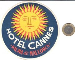 ETIQUETA DE HOTEL  - HOTEL CANNES -PALMA DE MALLORCA -ISLAS BALEARES - Hotel Labels
