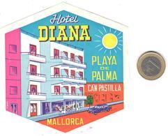 ETIQUETA DE HOTEL  - HOTEL DIANA  -CAN PASTILLA  -PALMA DE MALLORCA - - Hotel Labels