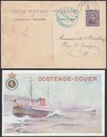 ENTIER 10C SUR 15C OSTENDE-DOUVRES PAQUEBOT VOYAGE (DD) DC-2902 - Stamped Stationery