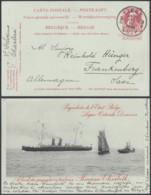 """ENTIER 10C ROUGE OSTENDE-DOUVRES PAQUEBOT """"PRINCESSE ELISABETH """" VOYAGE (DD) DC-2909 - Liner Cards"""