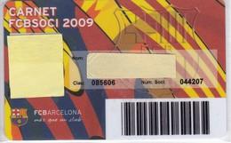 CARNET DE SOCIO DE FUTBOL CLUB BARCELONA TEMPORADA 2009 SENIOR - BARÇA (CAIXA-NIKE-AUDI - Tarjetas