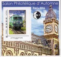 CNEP N°  73 De 2016 - Bloc Autoadhésif - Salon D'automne, Gare De Lyon, Train, Locomotive CC-7107 - CNEP