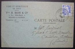1949 Nogent Le Rotrou Vins Et Spiritueux En Gros Vve H. Bion , Carte Postale - Marcophilie (Lettres)