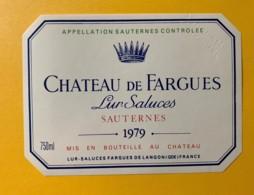 10391 - Château De Fargues Lur Saluces 1979 Sauternes Spécimen - Rouges