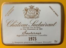 10395 -  Château Suduiraut 1975 Sauternes - Rouges