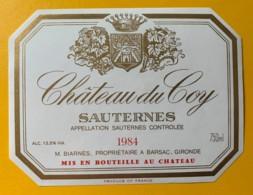 10397-  Château Du Coy 1984 Sauternes - Rouges