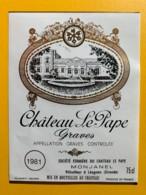 10407 -  Château Le Pape 1981 Graves - Rouges