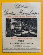 10410 - Château Pontac Monplaisir 1956 Graves - Rouges