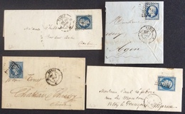47 Paris Bureaux Supplémentaires A.C.J.J. T14 8/12/1856 10/6/1857 6/11/1860 3/5/1861 3Lettres + 1 Coupée - Postmark Collection (Covers)