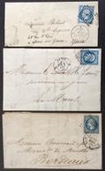 48 Paris Bureaux Supplémentaires A.C.J. T14 24/6/1858 1/12/1859 10/2/1860 3 Lettres - Postmark Collection (Covers)