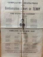 Canard / Aveyron /Complainte Condamnation à Mort De Terry Guillotiné Par Deibler / Catastrophe Pluviose En Chanson - Affiches