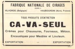 1927 - VILVORDE - Fabrique Nationale De Cirages CA-VA-SEUL - Dim. 1/2 A4 - Advertising