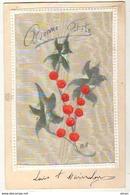 N°10354 - Carte Peinte Sur Soie - Fruits Rouges - Brodées