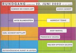 AK - 38957 - Werbekarte  - Leipzig Rundgang - Kunst , Eigenart, Gebert , Blumenstein, Tübke , Rottluff , Warhol, Vezzoli - Werbepostkarten
