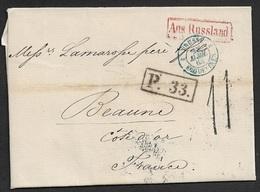 1863 - LAC - ST. PETERSBOURG A BEAUNE - AUS RUSSLAND - Entrée PRUSSE ERQUETINES - P.33 Taxe 11 - Plusiers Cachet Transit - 1849-1876: Période Classique