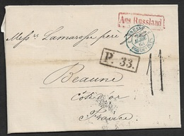 1863 - LAC - ST. PETERSBOURG A BEAUNE - AUS RUSSLAND - Entrée PRUSSE ERQUETINES - P.33 Taxe 11 - Plusiers Cachet Transit - Postmark Collection (Covers)