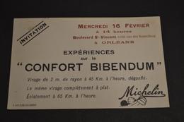 Carte Postale Orléans 1920 Pub Michelin Confort Bibendum Invitation - Publicité