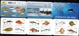 FRANCE, 2019, MNH, FISHING, FISH, RAYS, SARDINES, TUNA, MACKEREL. SOLES, COD, BOOKLET - Fishes
