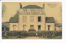 Carte Toilée Et Colorisée D' Aubigny Sur Nère  école Communale De Garçons - Aubigny Sur Nere