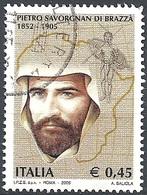 Italia, 2005 Pietro Savorgnan Di Brazzà, 0.45 € # Sassone 2838 - Michel 3052 - Scott 2687  USATO - 6. 1946-.. Repubblica