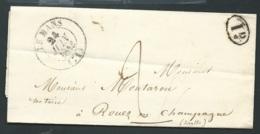 """Lac , Lettre Cad Le Mans  """"24/06/1843"""" Marque 2 Décimes + 1 DECIME RURAL , Pour Rouez En Champagne - RAA2501 - Marcophilie (Lettres)"""