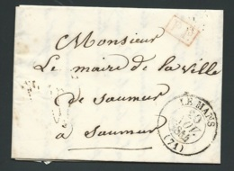 Lac , Lettre Cad Le Mans , 20/11/1844, Marque PP En Rouge ( Port Payé Pour Saumur  - RAA2503 - Lettres Taxées