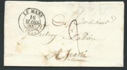 Lac , Cad Le  Mans 16/03/1845 , Taxe 2 Decmes , Pour Parcé  - RAA2508 - Marcophilie (Lettres)