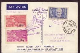 LA BAULE,LES TROIS JOURNEES D'AVIATION 1936, 1937,1938,TRES BELLES,voir Tous Les Scans - Postmark Collection (Covers)