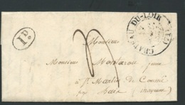 Lac , Cad Chateau Du Loir ( Mal Venu ) Dept 1837 Pour Saint Martin De Connée ( Mayenne) , Taxe 1 Décime Rural  RAA2509 - Postmark Collection (Covers)