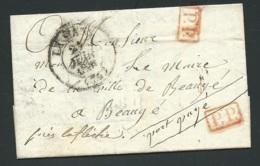Lac , Cad Le Mans  21/06/1841 , Marque Rouge PP ( Port Paye ) + Manuscrite , Pour Beaugé    RAA2512 - 1801-1848: Précurseurs XIX
