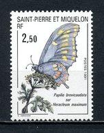 SPM MIQUELON 1991  N° 534 ** Neuf MNH Superbe C 1.40 €  Faune Papillons Butterflies Flore Flowers Animaux Insectes - Non Classés