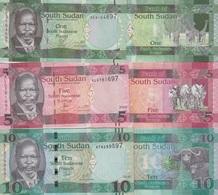 SOUTH SUDAN Set 1 5 10 Pounds (2011) 2015 2016  P 5 11a 12b UNC - South Sudan
