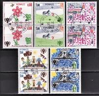 MONACO 1979 - SERIE 5 PAIRES N° 1181 A 1185 - OBLITERES - Monaco
