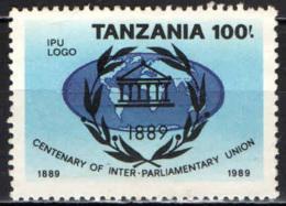 TANZANIA - 1989 - CENTENARIO DELL'UNIONE INTERPARLAMENTARE - EMBLEMA DELL'IPU - SENZA GOMMA - Tanzania (1964-...)