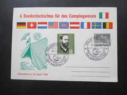 BRD Sonderkarte 4. Bundesfachschau Für Das Campingwesen 1957 Düsseldorf Mit Sonderstempel - BRD