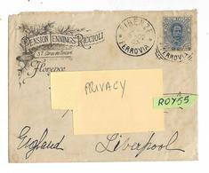 Storia Postale Busta Viaggata Nel 1902 Da Firenze A Liverpool Con Francobollo Isolato Umberto I Da Cent.25 (v.retro) - 1878-00 Umberto I