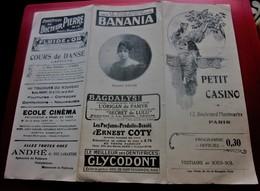 1920 PROGRAMME PETIT CASINO PARIS Bd De MONTMARTRE Dépliant Publicitaire Publicité BANANIA - Bénédictine - Cinzano - Programmes