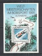 GERMANY 1991 - WORLD BOBSLEIGH CHAMPIONSHIPS, ALTENBERG -  M/S - USED OBLITERE GESTEMPELT USADO - Skateboard