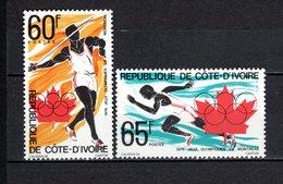 COTE D'IVOIRE N° 406 + 407  NEUFS SANS CHARNIERE COTE 2.20€  JEUX OLYMPIQUES MONTREAL   VOIR DESCRIPTION - Ivory Coast (1960-...)